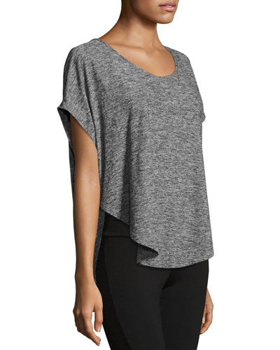 Scalloped Jersey Tee, Black/White