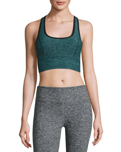 Lightweight Crossover Sports Bra, Black Arctic Teal