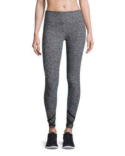 Space-Dye Strappy Ballet Sport Leggings, Black/White