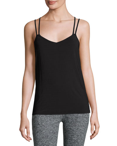 Strappy V-Neck Performance Cami, Black