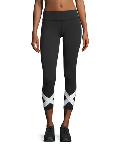 X-Marked Mesh 7/8-Length Leggings, Black