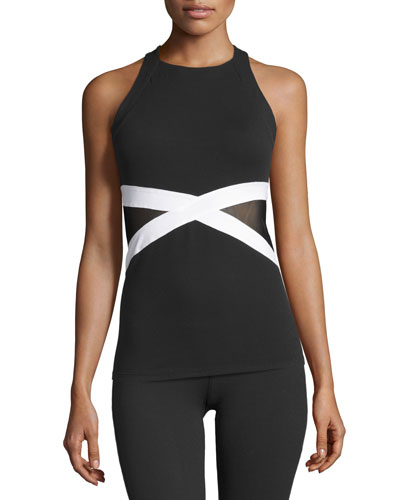 X-Marked Mesh Tank Top, Black