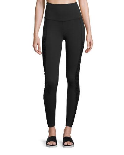 Shirred-Side High-Waist Performance Leggings, Black