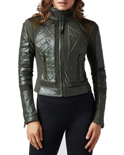 Quilted Leather & Mesh Moto Jacket, Black