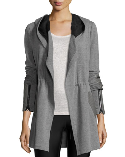 Traveler Long Jacket w/Leather Trim, Heather Gray/Black