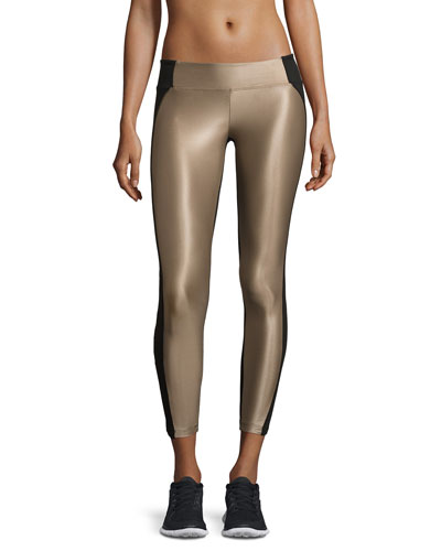 Helix Shiny Colorblock Athletic Leggings, Camel/Black