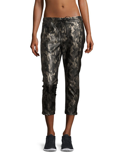 Caliber Tuxedo Camo-Print Vegan Leather Sweatpants