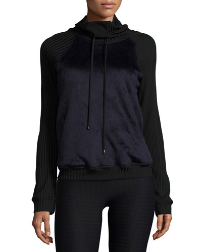 Faux-Fur Funnel-Neck Athletic Pullover, Midnight Blue/Black