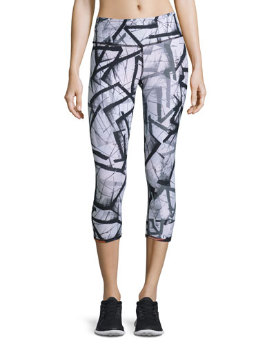 Reversible Print Performance Capri Pants, Nebula