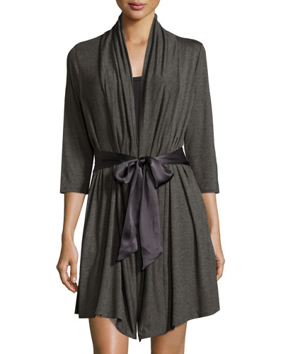 Take Me Away Inset-Back Robe, Dark Charcoal