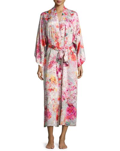 Autumn Satin Lounge Long Robe, Multicolor