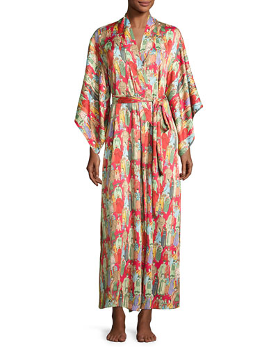 Dynasty Pearl-Print Long Robe, Red/Multicolor