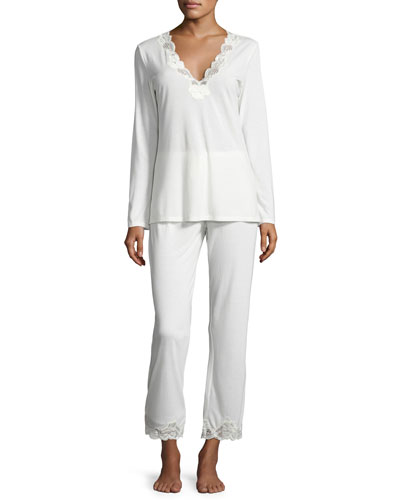 Zen Two-Piece Pajama Set with Floral Lace, Ivory