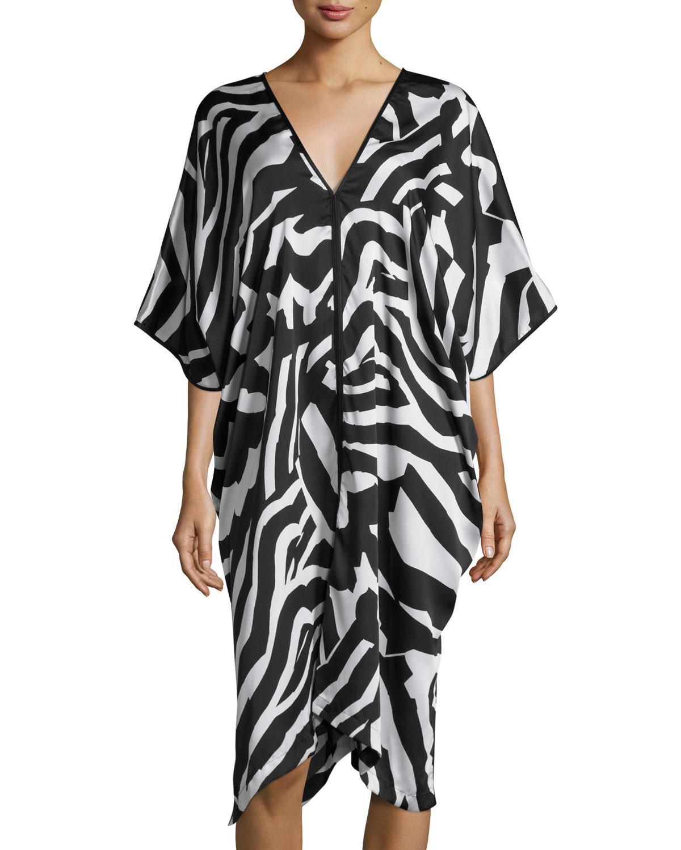Zebra-Print Lounge Caftan, Black