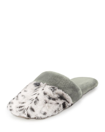 Faux-Shearling Slide Slipper, Snow Leopard