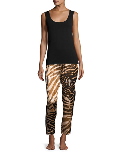 Silk Zebra-Print Lounge Pants, Natural