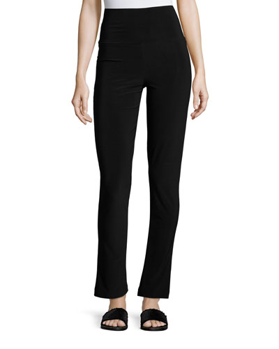 Boot-Cut High-Waist Pants, Black