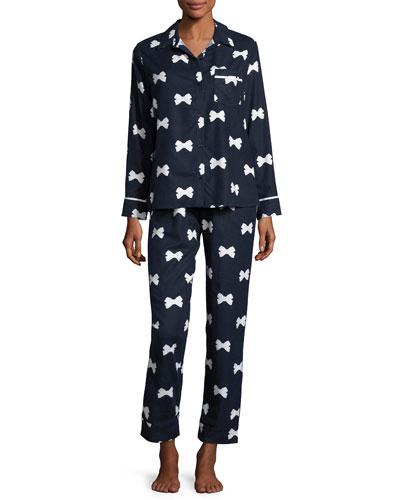 bow tie-print flannel pajama set, navy