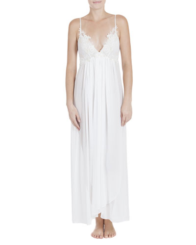 Windsong Lace-Trim Long Chiffon Gown, Ivory