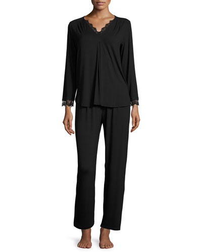 Luxe Jersey Two-Piece Pajama Set, Black