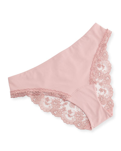 Stolen Roses Mid-Rise Lace-Back Briefs, Pink