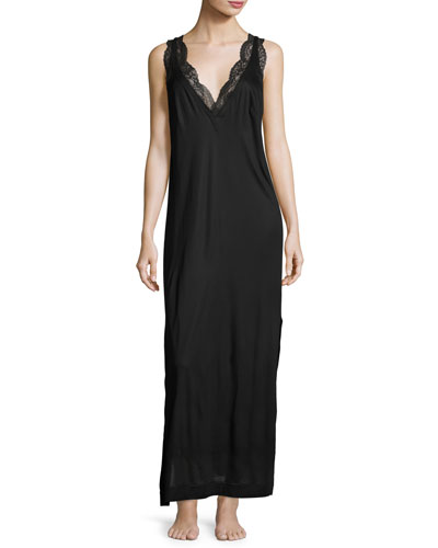 Charisma Lace-Trimmed Nightgown, Black