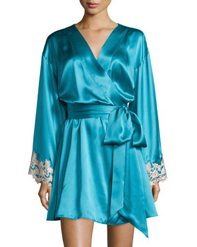 Maison Lace-Trim Short Robe