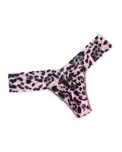 Pretty Leopard Signature Lace Low-Rise Thong, Pink/Black