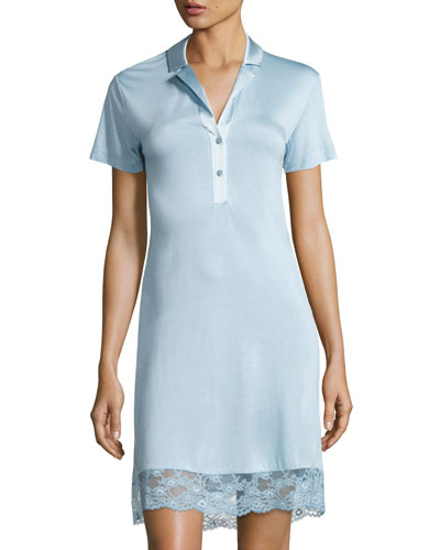 Airy Blooms Lace-Trim Sleepshirt