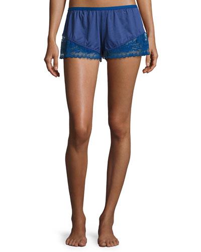 Cosmopolitan Lace-Trimmed Boxer Shorts, Marine Blue