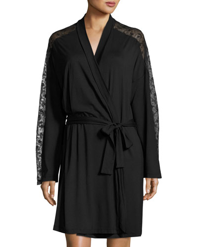 Ritz Long-Sleeve Robe, Black