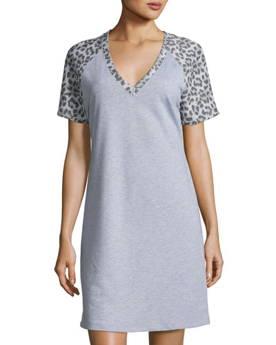 Sterling Short-Sleeve Gown, Heather Gray