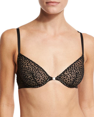 Ziegfeld Front-Close Underwire Bra, Black Burnout