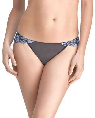 Envious Lace-Back Bikini Briefs, Navy/Paris Blue