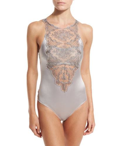 Accord Prive Sleeveless Bodysuit, Silver