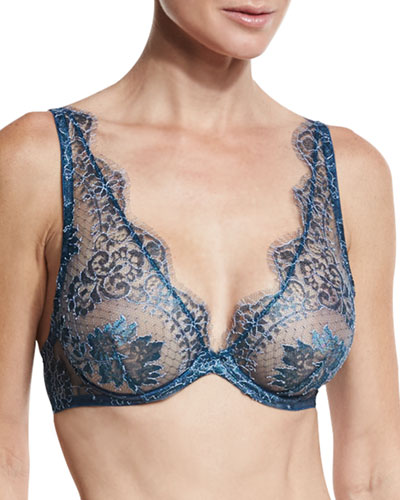 Nuits a Marrakesh Underwire Triangle Bra, Metal Sapphire