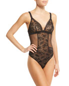Maison Lejaby Miss Lejaby Sheer Lace Bodysuit, Black