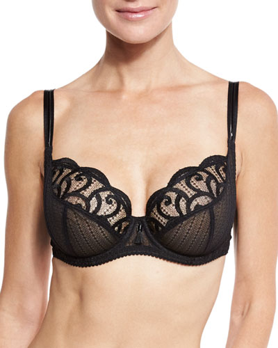 Roxane Full-Cup Lace Bra, Black