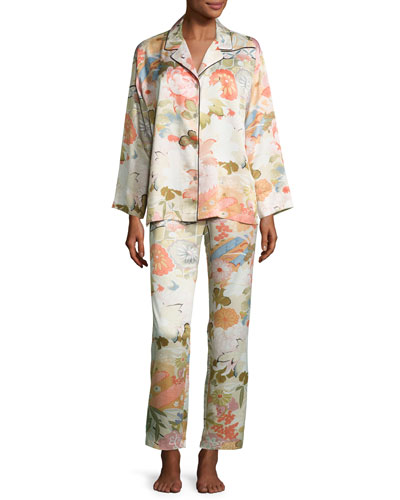 Yuzen Printed Two-Piece Pajama Set, Antique