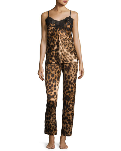 Leopard-Print Two-Piece Camisole Set, Natural