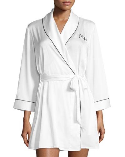 mrs. satin robe, white/black