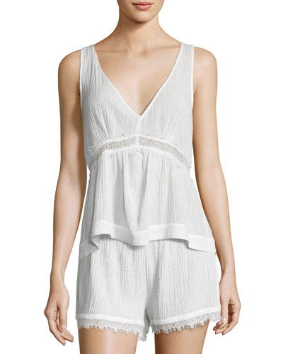 Cotton Gauze Lounge Tank, Coconut