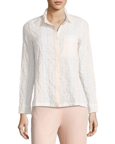 Stripe-Print Lounge Shirt, Pina Colada