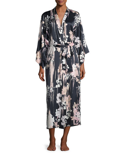 Layla Floral-Print Long Robe, Black
