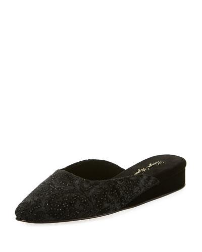 Gillian Crystal Velvet Slipper, Black