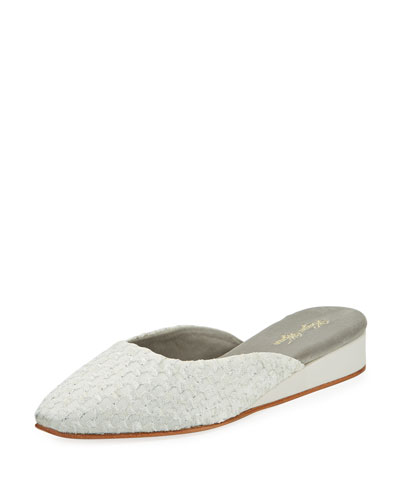 Pascal Cotton-Blend Slipper, White/Silver