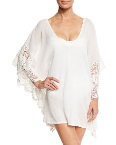 Calista Scalloped Lace Short Caftan Coverup, White