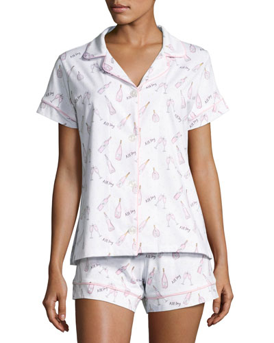 Short-Sleeve Print Shortie Pajama Set, Rose All Day