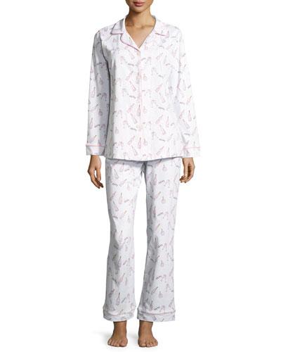 Rosé All Day Printed Pajama Set, White