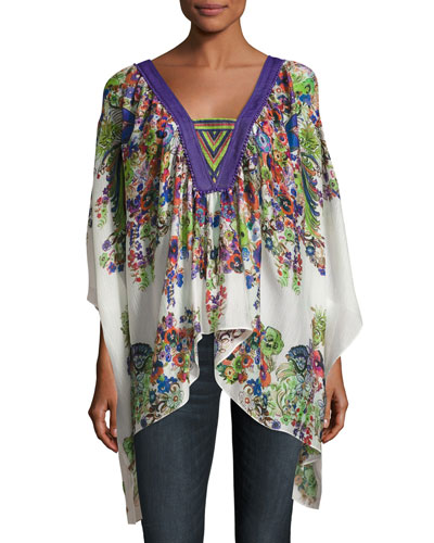 Bell Heather Gauze Caftan, White/Multi
